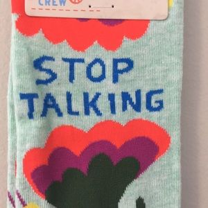 "Womens Crew/Blue Q Socks Accessories - ""Stop Talking"" socks"